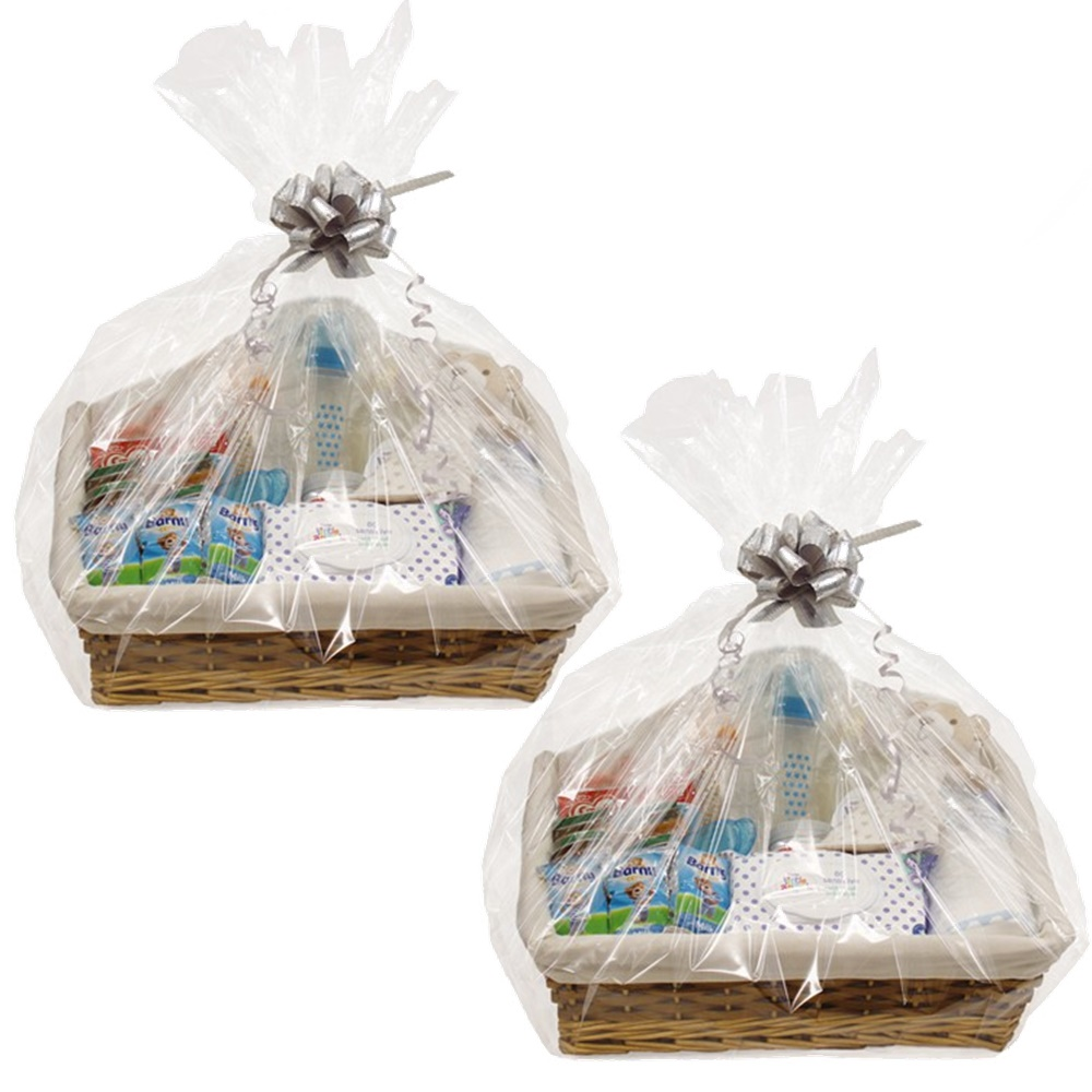 2 X MAKE YOUR OWN HAMPER WICKER BASKET CELLOPHANE \u0026 BOW XMAS GIFT ...