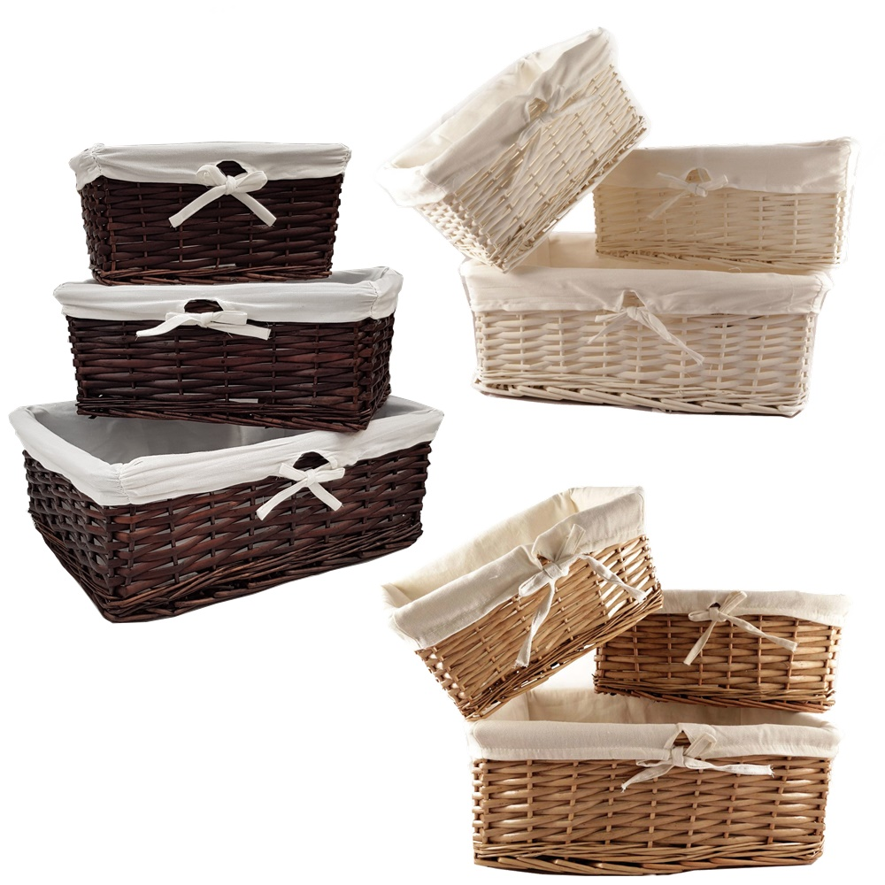 Willow Wicker Storage Basket With Liner For Home: WICKER WILLOW STORAGE BASKETS LINING XMAS GIFT MAKE YOUR